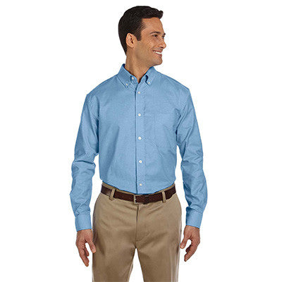 Harriton Mens Long-Sleeve Oxford with Stain-Release - EZ Corporate Clothing  - 3