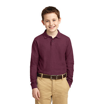 Port Authority Youth Silk Touch Long Sleeve Polo - Printed - EZ Corporate Clothing  - 4