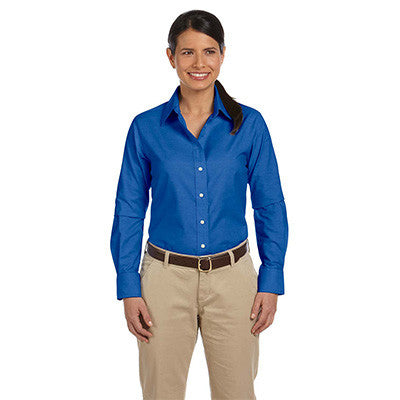 Harriton Ladies Long-Sleeve Oxford with Stain-Release - EZ Corporate Clothing  - 2