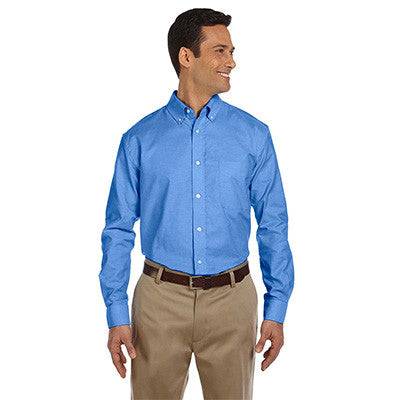 Harriton Mens Long-Sleeve Oxford with Stain-Release - EZ Corporate Clothing  - 2