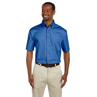 Harriton Mens Short-Sleeve Twill Shirt With Stain-Release - EZ Corporate Clothing  - 3