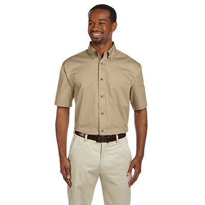 Harriton Mens Short-Sleeve Twill Shirt With Stain-Release - EZ Corporate Clothing  - 5