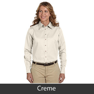 Harriton Ladies Long-Sleeve Twill Shirt With Stain-Release - EZ Corporate Clothing  - 5