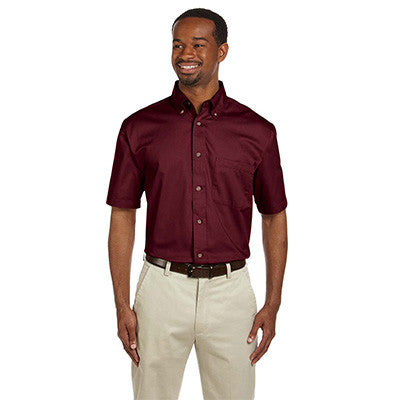 Harriton Mens Short-Sleeve Twill Shirt With Stain-Release - EZ Corporate Clothing  - 6