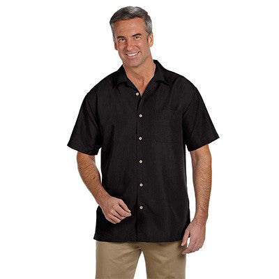Harriton Mens Barbados Textured Camp Shirt - EZ Corporate Clothing  - 2