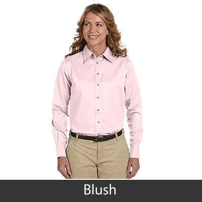 Harriton Ladies Long-Sleeve Twill Shirt With Stain-Release - EZ Corporate Clothing  - 4