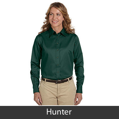 Harriton Ladies Long-Sleeve Twill Shirt With Stain-Release - EZ Corporate Clothing  - 9