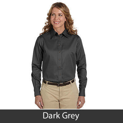 Harriton Ladies Long-Sleeve Twill Shirt With Stain-Release - EZ Corporate Clothing  - 6