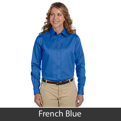 Harriton Ladies Long-Sleeve Twill Shirt With Stain-Release - EZ Corporate Clothing  - 8