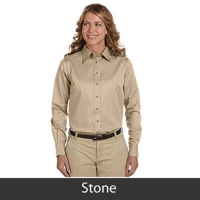 Harriton Ladies Long-Sleeve Twill Shirt With Stain-Release - EZ Corporate Clothing  - 14