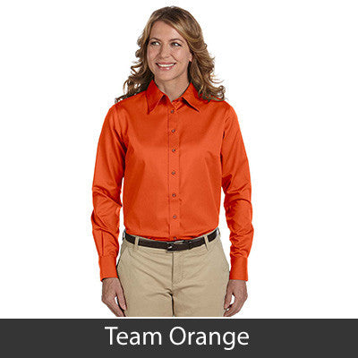 Harriton Ladies Long-Sleeve Twill Shirt With Stain-Release - EZ Corporate Clothing  - 16