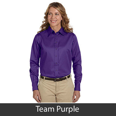 Harriton Ladies Long-Sleeve Twill Shirt With Stain-Release - EZ Corporate Clothing  - 17