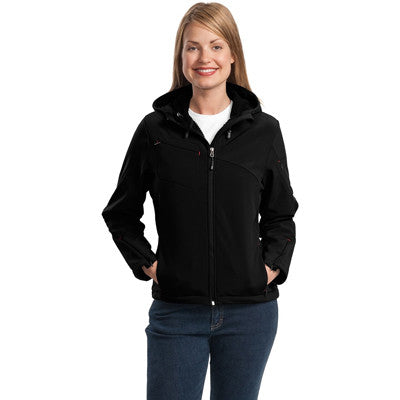 Port Authority Ladies Textured Hooded Soft Shell Jacket - EZ Corporate Clothing  - 2