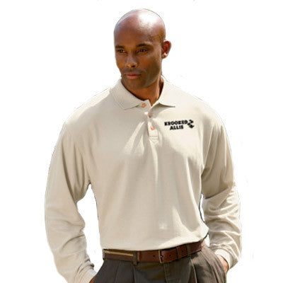 UltraClub Long-Sleeve Whisper Pique Polo