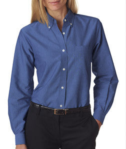 UltraClub Ladies Classic Wrinkle-Free Long-Sleeve Oxford - EZ Corporate Clothing  - 4