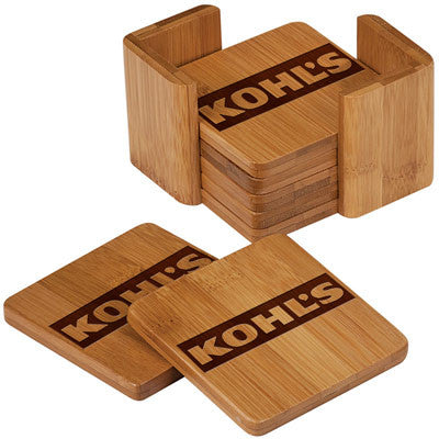 Custom Bamboo Square Coaster Set - EZ Corporate Clothing  - 2
