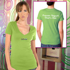 Kavio Junior Deep-V Tee - Frozen Yogurt That's Hot - EZ Corporate Clothing