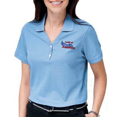 Devon & Jones Ladies Pima Pique Short-Sleeve Y-Collar Polo - EZ Corporate Clothing  - 1