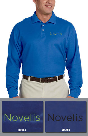 Devon & Jones Mens Pima Pique Long-Sleeve Polo - Novelis-French Blue