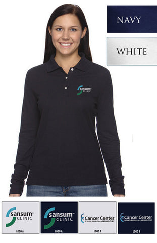 Sansum Clinic Devon & Jones Ladies Pima Pique Long-Sleeve Polo - EZ Corporate Clothing  - 2