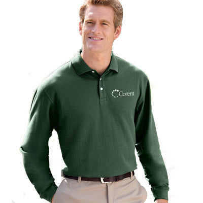 Men's Long Sleeve Polo Shirt - Embroidered Business Clothing