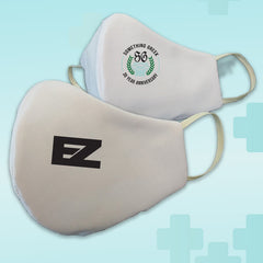 Custom Logo Reusable White Face Mask Covering - Made in USA - 100% Cotton - Poppi 2.0 - DIG