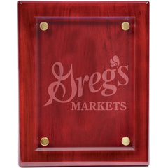 Custom Wooden Plaque with Etched Glass - Plaques - Awards