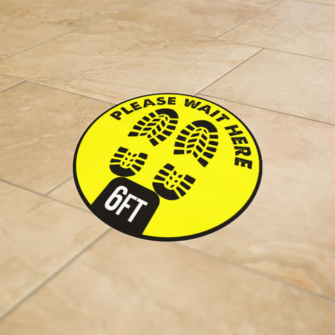 "12"" Yellow 6' Apart Social Distancing Round Floor Graphic Decal Sticker - Vinyl - YEL PRE"
