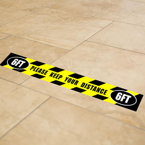 "26"" x 3"" Yellow 6' Apart Social Distancing Strip Floor Graphic Decal Sticker - Vinyl - YEL PRE"