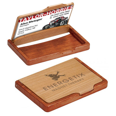 Custom Wooden Business Card Holder - EZ Corporate Clothing  - 2