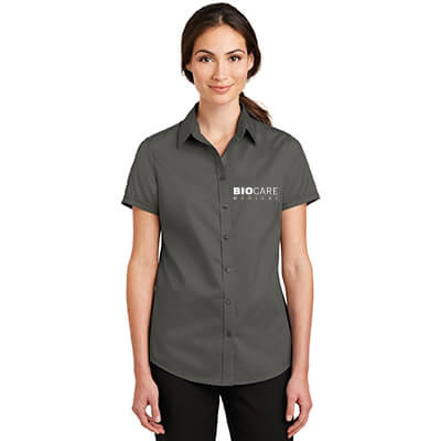 Biocare Medical Ladies Short Sleeve SuperPro Twill Shirt - Port Authority L664 - EMB