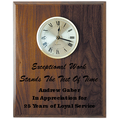 Step Edge Genuine Walnut Clock Plaque - CLV65