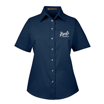 Harriton Ladies Easy Blend Short-Sleeve Twill Shirt with Stain-Release
