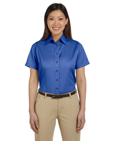 Harriton Ladie's Easy Blend Short-Sleeve Twill Shirt with Stain-Release