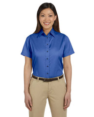 Harriton Ladie's Easy Blend Short-Sleeve Twill Shirt with Stain-Release - EZ Corporate Clothing