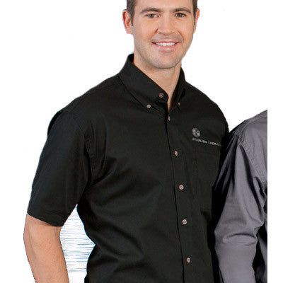 Harriton Mens Short-Sleeve Twill Shirt With Stain-Release - EZ Corporate Clothing  - 1