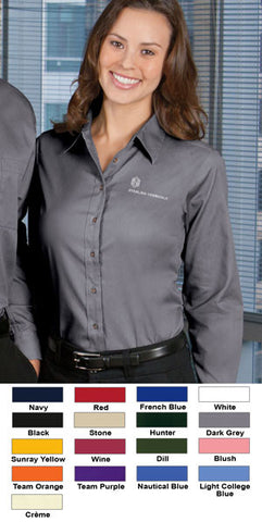 Harriton Ladies Long-Sleeve Twill Shirt With Stain-Release - EZ Corporate Clothing  - 2