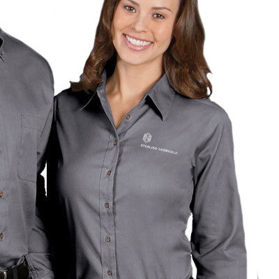 1fe649beb0 Harriton Ladies Long-Sleeve Twill Shirt With Stain-Release