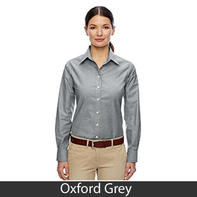 Harriton Ladies Long-Sleeve Oxford with Stain-Release - EZ Corporate Clothing  - 4