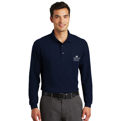 Port Authority Silk Touch Long Sleeve Polo With Pocket - Printed