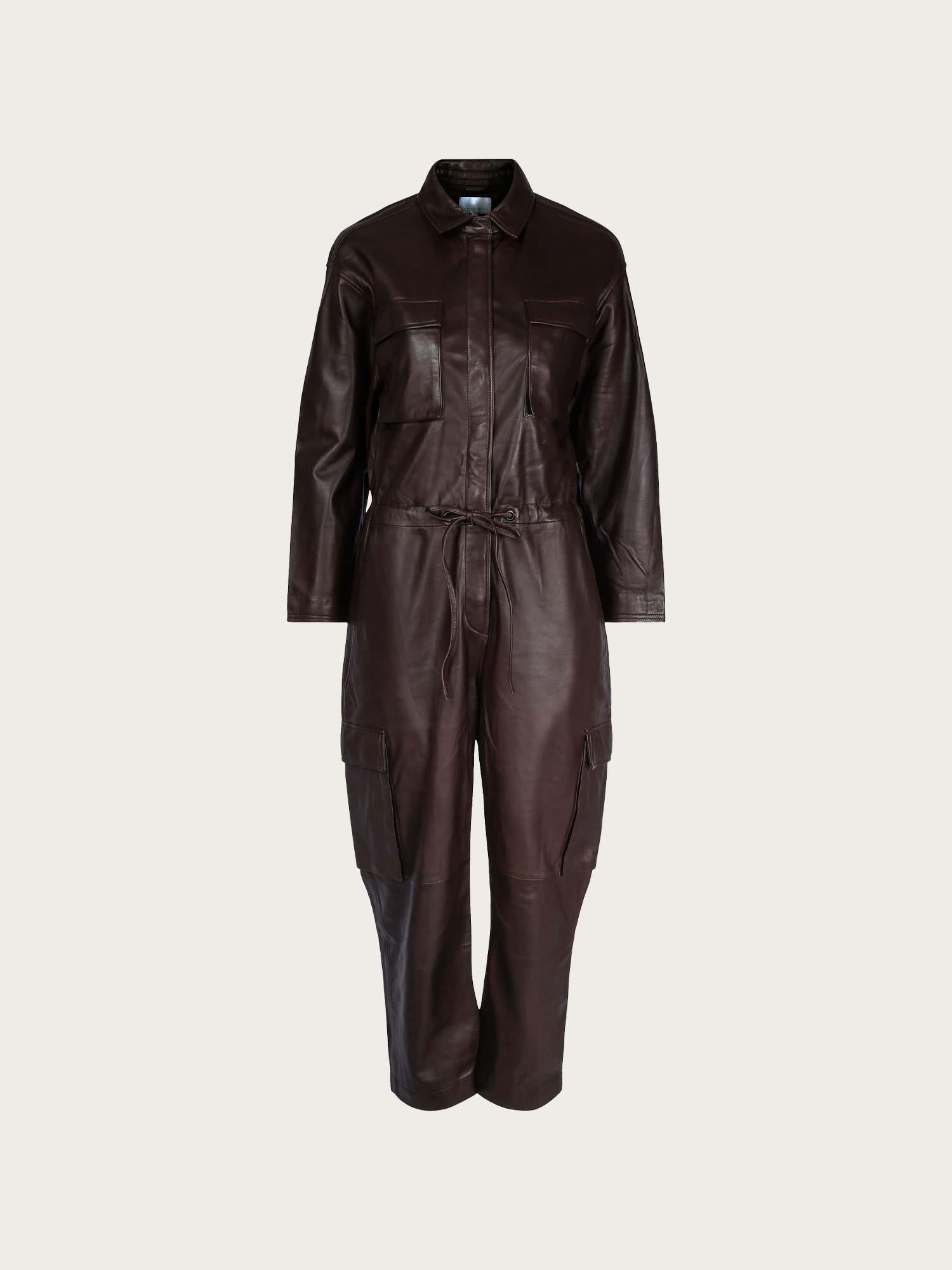 Una Leather Jumpsuit Espresso