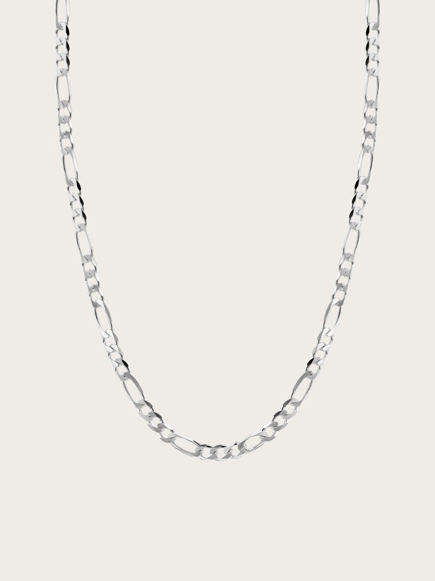 Space - Flat Figaro Necklace 3,15 mm Silver