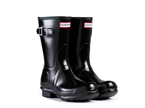 Hunter Womens Original Short Gloss Rain Boots (W23700-BLK)