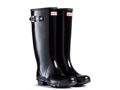 Hunter Womens Huntress Gloss Wider Calf Rain Boots (W23990-BLK)