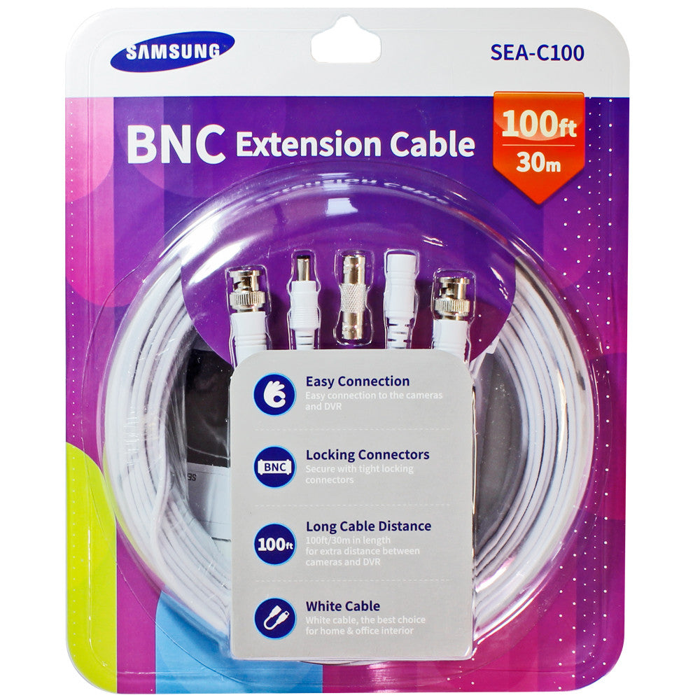 4packs Of Samsung Sea C100 100 Extension 100ft Bnc Video