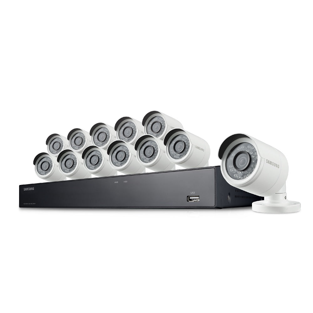 Samsung Wisenet SNK-D85121BF 16 Channel 4MP Super HD PoE NVR Security  System with 3TB HDD and 12 cameras