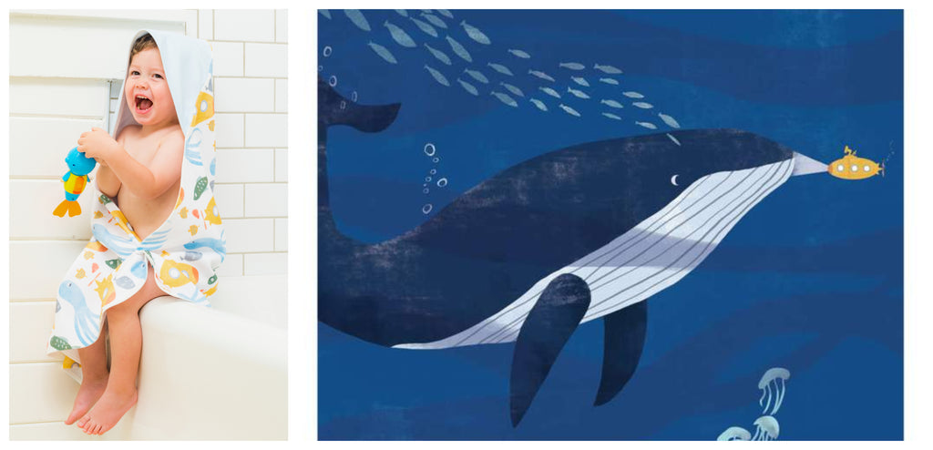 Bathroom Wall Art and Hooded Towel by Rebecca Huang for Mouse and Magpie