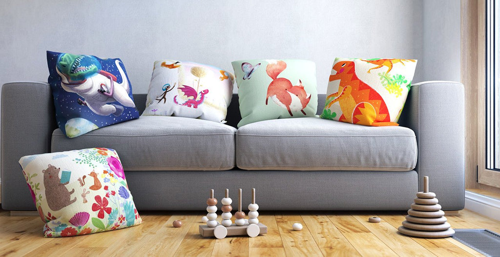 Throw pillows add pops of color to your nursery color scheme