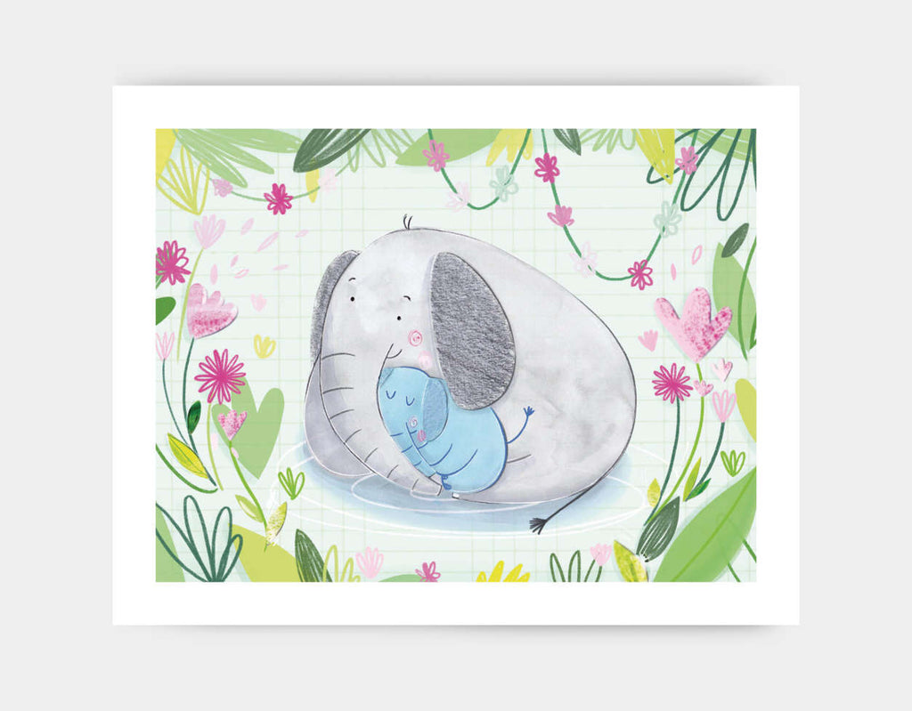 Elephant Cuddles Art Print by Chloe Evans - Large