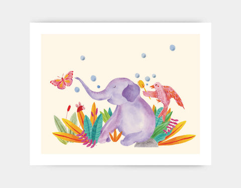 Elephant and Butterfly Art Print by Betânia Sensini - Large